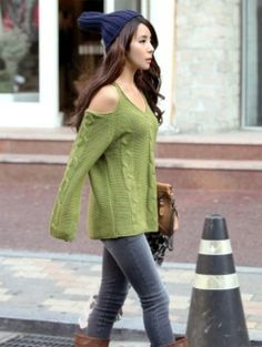 d5002e73cb58a Sexy Off The sale cardigans Shoulder Loose Fitting Twist Wave Long Sleeve  Sweater