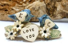 LOVE YOU wedding cake topper A pair of ceramic love by orlydesign [ in purple]