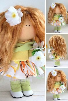 Handmade doll toy Tilda doll Interior doll Art doll brown green colors soft doll Cloth doll Fabric doll Love doll by Master Maria Lazareva