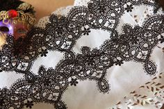 Exquisite Black Venice lace Aulic Embroidered Lace Trim 2.55 Inches Wide 2 Yards
