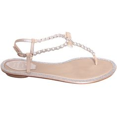 Rene Caovilla Leather sandals with pearls and ribbon ($1,077) ❤ liked on Polyvore featuring shoes, sandals, pink, summer sandals, ribbon sandals, toe post sandals, toe thongs and rene caovilla sandals