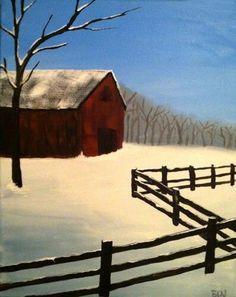 Snowy Barn Acrylic • Acrylic Canvas Painting