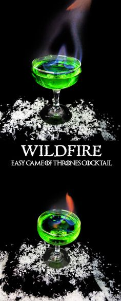 A flaming Game of Thrones inspired cocktail for your next Game of Thrones viewing party! Inspired by the green explosive Wildfire used in the show. This easy Game of Thrones cocktail is caught fire with Bacardi 151 rum and sweetened by using a mix of Mido Game Of Thrones Drink, Game Of Thrones Cocktails, Game Of Thrones Party, Game Of Thrones Halloween, Game Thrones, Party Drinks Alcohol, Bar Drinks, Cocktail Drinks, Alcohol Games