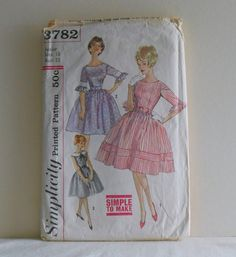 Simplicity 3782 One Piece Dress Junior Size 13 Bust by filecutter, $5.50