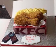 Kfc meal box celebration cake made by us. Every bit is edible even the BBQ sachets :)) Kfc Cake, Meal Box, Friends Cake, Bouncy Ball, Sachets, Celebration Cakes, Let Them Eat Cake, Recipe Box, How To Make Cake