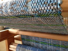 Lime Green & Blue Stripe Rag Rug from Simple Weaves