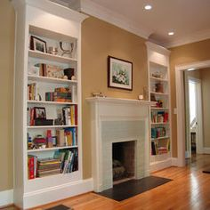 Spaces Built-in Bookshelf And Fireplace Design, Pictures, Remodel, Decor and Ideas - page 2