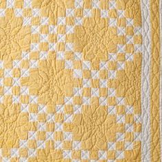 Yellow Irish Chain Variation - from Land's End - Color Note: Dark Butter Yellow and White Old Quilts, Antique Quilts, Scrappy Quilts, Vintage Quilts, Baby Quilts, Quilting Projects, Quilting Designs, Sewing Projects, Yellow Quilts