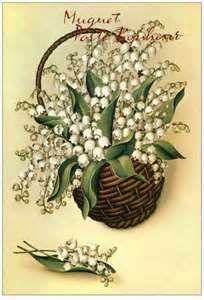 Muguet Porte-Bonheur Vintage Greeting Cards, Vintage Postcards, Vintage Images, Easter Paintings, Etiquette Vintage, Lily Of The Valley Flowers, Vintage Botanical Prints, Language Of Flowers, Flower Bird
