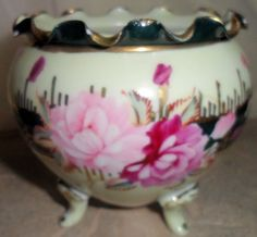 Vintage Hand Painted Footed Vase Trinket Petal Bowl Cabbage Rose Green Border #unknown