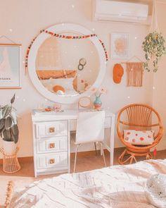 Rustic bedroom decor with brass mirror and green wood desk vanity boho bedroom