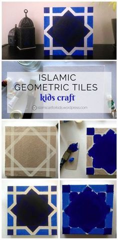 Islamic Tiles: Geometric Art for Kids Islamic Geometric Art is usually complex and precise. This simplified version of an 8 pointed start using tape resist on canvas is fun and easy for kids to make. Ramadan Diy, Ramadan Crafts, Ramadan Decorations, Ramadan For Kids, Kids Art Corner, Decoraciones Ramadan, Eid Activities, Art For Kids, Crafts For Kids