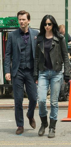 David Tennant and Krysten Ritter on the set of Jessica Jones.