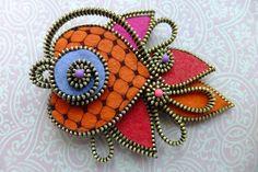 Koi Fish Felt zipper brooch (For Hat Jacket Coat)