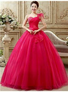 単肩デザインの甘美粉心地最高のロングドレス 披露宴ドレス