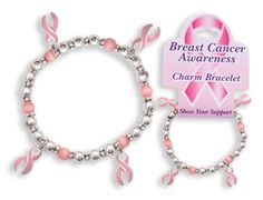 The breast cancer awareness charm bracelet is a great gift idea for your next pink ribbon event.  The pink ribbon charms are pink and accented in silver.  The pink ribbon charm bracelet is a beautiful pink bead bracelet.  The pink ribbon bracelet is a great gift item and also cheap enough to be a give-away item at your next breast cancer awareness fundraiser. Think pink with our well-curated selection of favors, gifts, tableware, hats, apparel, party decorations and jewelry. Pink ribbon…