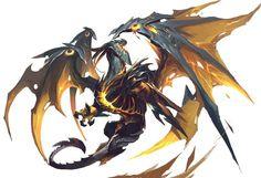 """Higher Dragon Deity of Vengeance, Deathwing """"Huguenot"""" Monster Concept Art, Fantasy Monster, Monster Art, Fantasy Creatures, Mythical Creatures, Dark Fantasy, Fantasy Art, Beast Creature, Fantasy Beasts"""
