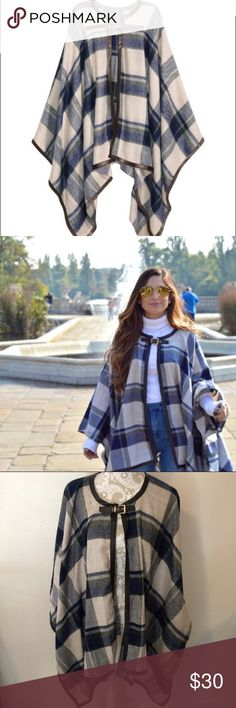 H&M Plaid Cape/Poncho A staple for your winter closet! Classy and versatile, it's the perfect accent piece to any outfit. Cape has small closures on either side to create arm holes, so this won't slide all over as you wear it. Like new condition, ONE SIZE FITS ALL. H&M Jackets & Coats Capes