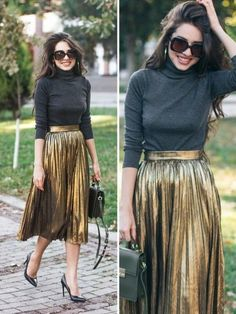 17 Types Of Skirts That Can Compliment Your Look Effortlessly Metallic Skirt Outfit, Gold Pleated Skirt, Pleated Skirt Outfit, Metallic Pleated Skirt, Skirt Outfits, Mode Outfits, Fashion Outfits, Midi Rock Outfit, Types Of Skirts