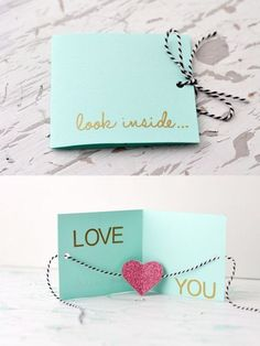 """Unique DIY Valentines Day Cards & Envelopes DIY greeting card ~ """"Look inside.Love you"""" Valentines Bricolage, Valentine Day Crafts, Be My Valentine, Valentines Day Gifts For Him Creative, Handmade Valentine Gifts, Handmade Gifts For Friends, Diy Valentines Cards, Creative Gifts, Homemade Valentine Cards"""