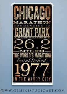 Chicago Marathon original typography artwork by stephen fowler 10 x 20 signed giclee print on Etsy, $25.00