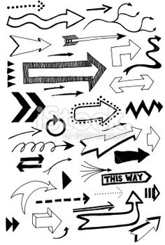 Lots of hand drawn arrow doodles - arrow doodles Royalty Free Stock Photo - Doodle Drawings, Doodle Art, How To Doodle, Arrow Doodle, Visual Note Taking, Hand Drawn Arrows, Doodle Lettering, Sketch Notes, Bullet Journal Inspiration