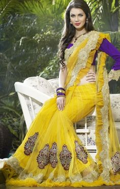 Yellow Color Designer Lehenga Style Saree With Blouse (HSPRAD801) - OnlineDesignerStore.com by Online Designer Store