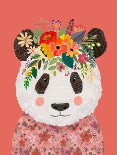 Cut Panda Bear with flower crown. Cute decor for kids Art Print by Mia Charro - X-Small Crown Illustration, Panda Illustration, Panda Background, Food Art For Kids, Panda Love, Big Panda, Panda Art, Motifs Animal, Bear Art