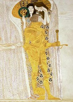 Gustav Klimt - The Knight detail of the Beethoven Frieze, said to be a portrait of Gustav Mahler (1860-1911):