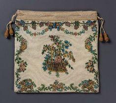 Flat drawstring bag French ca. 1725-1775