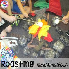 Pretend to roast marshmallows! Camping Dramatic Play: How to set it up in your preschool, pre-k, tk, and kindergarten classroom Camping Dramatic Play, Dramatic Play Area, Dramatic Play Centers, Preschool Class, Kindergarten Classroom, Kindergarten Centers, Classroom Themes, Toddler Preschool, Camping Activities