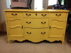 Old dresser painted with Annie Sloan mixture of Arles and English Yellow (50/50 mix)