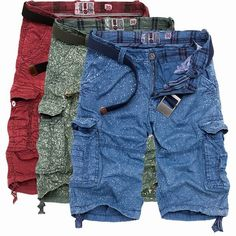 Hombres Pantalones de algodón de verano carga de pulverización de pintura impresa multi bolsillos cargo Shorts