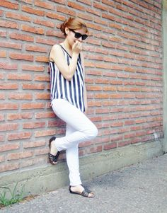 #streetstyle #fashion #blogger #summer #white #stripes || Style by Deb
