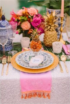 Colorful tablescape.