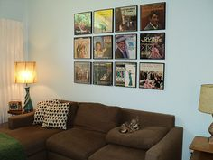 Retro Home Decor Ideas ~ Displaying old album covers as art - Ideas from 8 reader homes - Retro Renovation Diy Room Decor, Living Room Decor, Wall Decor, Room Decorations, Vinyl Record Display, Framed Records, Record Wall, Record Storage, Vinyl Records