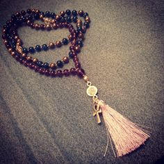 Brand new hand-knotted mala! #forsale #108 #apatite #amethyst #pyrite…