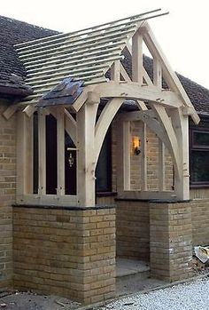 Picture 4 of 12 Front Door Canopy, Porch Canopy, Back Door Entrance, Front Door Porch, Porch Doors, Front Porch Design, House Front Door, Vestibule, Porch Oak