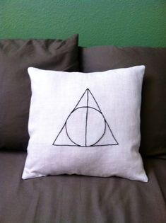 Deathly Hallows Hand Embroidered Pillow Cover