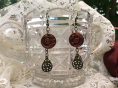Handmade antique button dangle earrings red button by FrenchiGrace