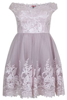 CHI CHI LONDON Mink Off The Shoulder Embroidered Prom Dress