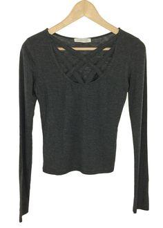 175241bb26ad carol criss cross top (charcoal) Cross Shirts