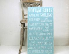 Items similar to Cottage Rules- Beach House Rules- Lake House Rules- Shabby Chic Planked Sign on Etsy