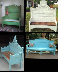 Custom Bench, Hall Bench, Headboard Bench, Unique Bench Porch Bench , Bed Bench By Foo Foo La La Refurbished Furniture, Repurposed Furniture, Furniture Makeover, Painted Furniture, Diy Furniture Repurpose, Upcycled Furniture Before And After, Diy Furniture Flip, Bed Frame Bench, Headboard Benches