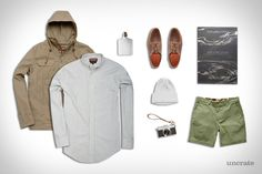 Ball and Buck Hunter Shirt ($158). Ball and Buck Anorak Jacket ($398). Ball and Buck Duck Cotton Shorts ($98). Ball and Buck Baxter Ranger Shoe ($298). The Times Atlas of the World ($190). Misc Goods Co. Ceramic Flask ($92). Apolis...