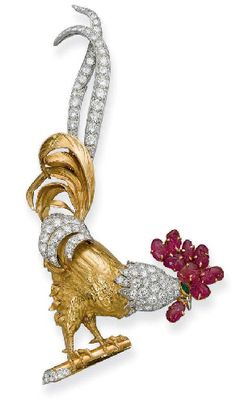 AN AMUSING 18K GOLD, DIAMOND AND RUBY 'COQ' BROOCH, BY CARTIER  Designed as an engraved gold cockerel with pavé-set diamond head and feather detail and carved ruby comb, circa 1948