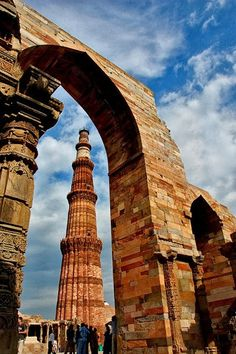 Qutab Minar is a soaring 73 metre high tower of victory, built in 1193 by Qutab-ud-din Aibak immediately after the defeat of Delhi's last Hindu kingdom.  Location: New Delhi, India.   Photo: google+