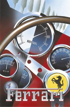 1962 Ferrari 250 GTO Dashboard' by Emilio Saluzzi - Vintage car posters - Art Deco - Pullman Editions - Ferrari by queen Art Deco Posters, Car Posters, Vintage Posters, Vintage Racing, Vintage Cars, Vintage Auto, Gp F1, Automobile, Mercedes 300