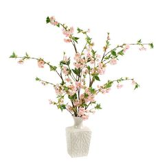 Silk pink cherry blossom arrangement in an embossed ceramic vase. Product: Faux floral arrangementConstruction Material: Polyester and ceramicColor: Pastel pink and whiteFeatures: Includes faux cherry blossomsMade in the USA Dimensions: 42 H x 42 W x 34 D Lavender Flowers, Faux Flowers, Cherry Blossom Party, Cherry Blossoms, Hydrangea Vase, Orchid Centerpieces, Artificial Hydrangeas, Silk Floral Arrangements, Glass Planter