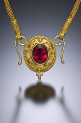 Ct Rubellite Tourmaline Pendant with Filigree and Granulation in and Gold featured with a Gold Loop and Loop hand made Chain. - Available Gallery - Paul Farmer Goldsmith Jewelry Art, Jewelry Accessories, Jewellery, Filigree, Farmer, Handmade Jewelry, Gold Necklace, Bling, Chain
